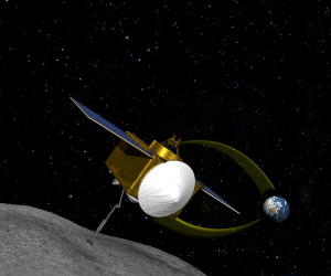 An artist's rendition of OSIRIS-REx collecting samples from asteroid 101955 Bennu. Source: NASA