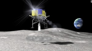 An artist's rendition of Japan's SLIM spacecraft landing upon the Moon. Credit: JAXA