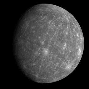 The innermost planet Mercury, as seen by the MESSENGER spacecraft during a flyby in 2008 Source: NASA