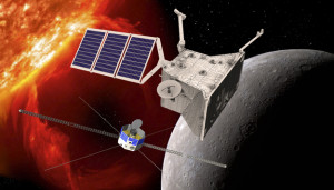 An artist's impression of the BepiColombo mission in orbit around Mercury. Source: ESA