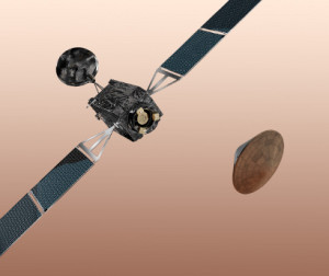A graphic representation of the Trace Gas Orbiter and the EDM, both part of the first mission of the ExoMars program. Source: ESA