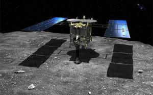 A rendering of Japan's Hayabusa 2 spacecraft collecting samples from an asteroid. Source: JAXA