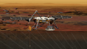 A computer generated image of NASA's InSight lander, which will explore the Martian sub-surface sometime after launch in 2017. Source: NASA