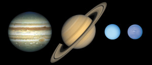 The gassy worlds of the Outer Solar System, as captured by NASA spacecraft. Source: NASA