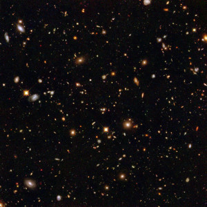 "The ""Hubble Deep Field"" image, taken by the Hubble Space Telescope, reveals hundreds of thousands of galaxies in deep space. The image was taken from a small, single point of the sky. Source: NASA"