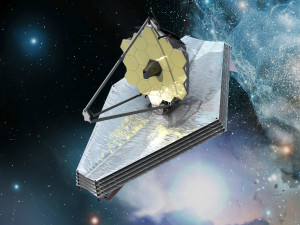 A rendering of the James Webb Space Telescope, NASA's successor to the Hubble and Spitzer telescopes. The gray foil under the telescope is the spacecraft's massive sun-shield. Source: NASA