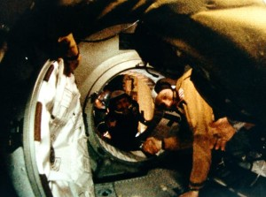 "The ""Apollo-Soyuz Handshake,"" a key moment in U.S.-Soviet space relations."